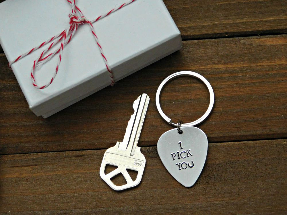 I Pick You Guitar Pick Keychain Custom Stamped For Him Music Lover Val