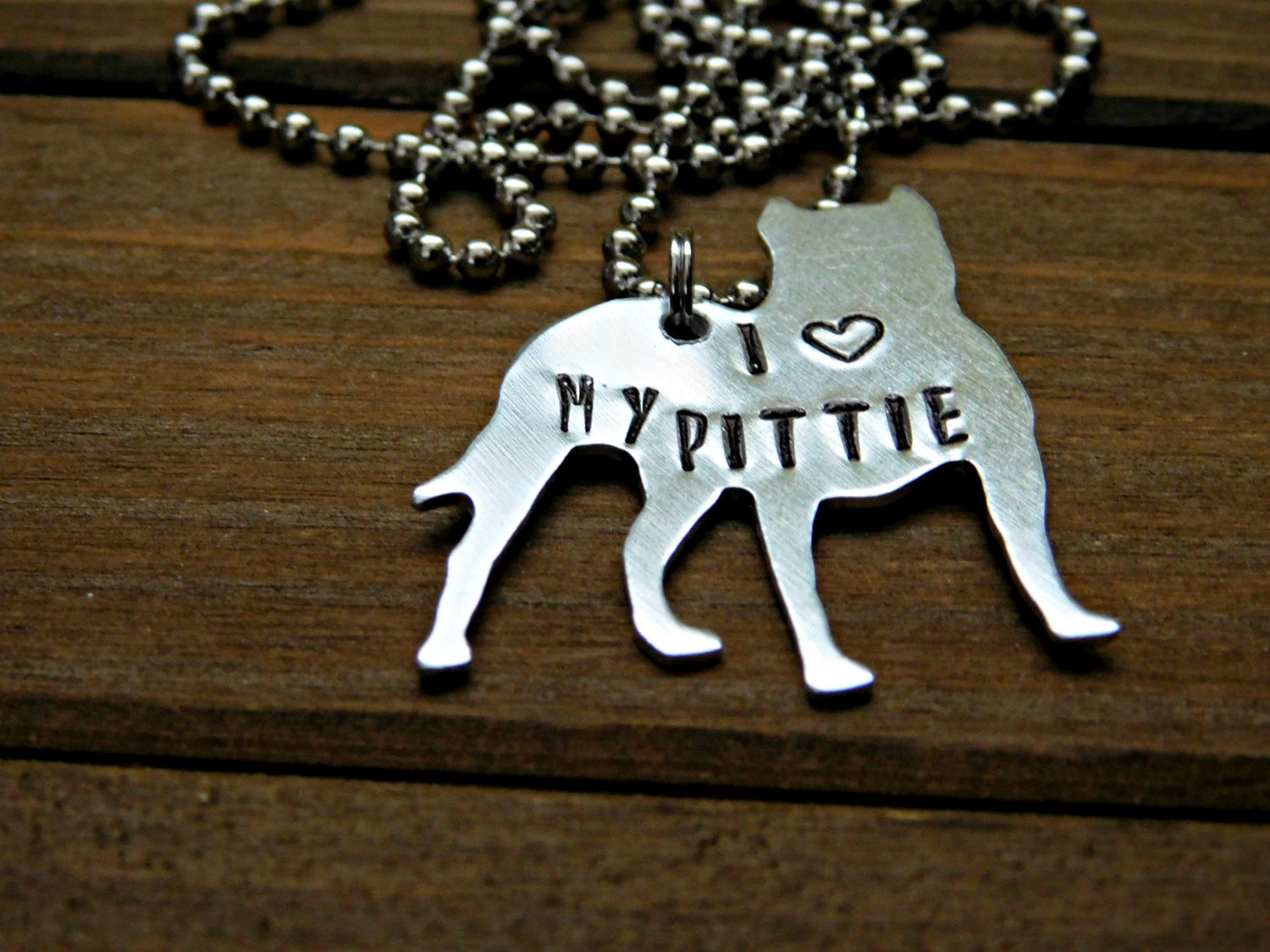 Pitbull Necklace Dog Lover Jewelry Pet I Love My Pittie Rescue BSL Custom Stamped Gift Adopt Bully