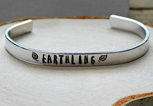 Earthling Leaf Bracelet Vegan Jewelry Gift Cuff Vegetarian Aluminum Animal Rights Rescue Love