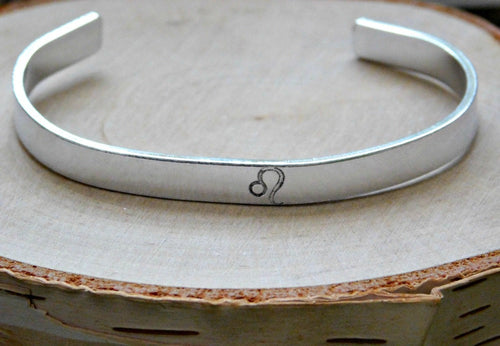 Leo Bracelet Zodiac Custom Gift Unisex Stamped Engraved Astrology July August Birthday Secret Santa