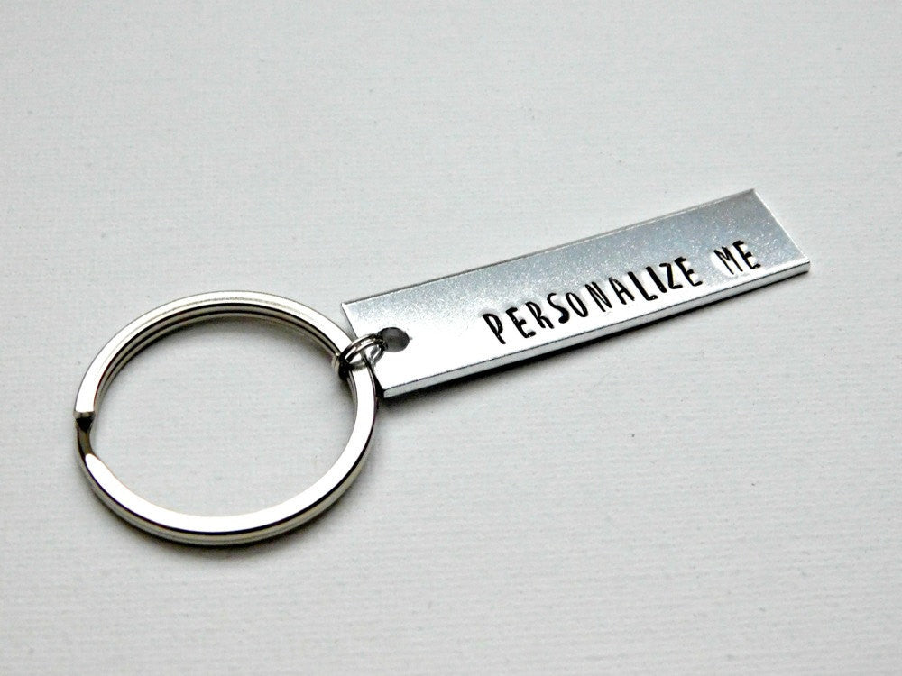 Customized Keychain Personalized Stamped Gift For Him Her Accessory Custom Unisex Birthday Wedding