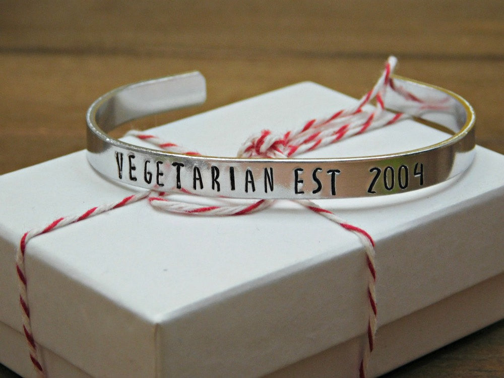 Vegetarian Bracelet Jewelry Custom Date Gift Established Year Anniversary Est Unisex Silver Cuff Personalized Customized Red Panda's Closet