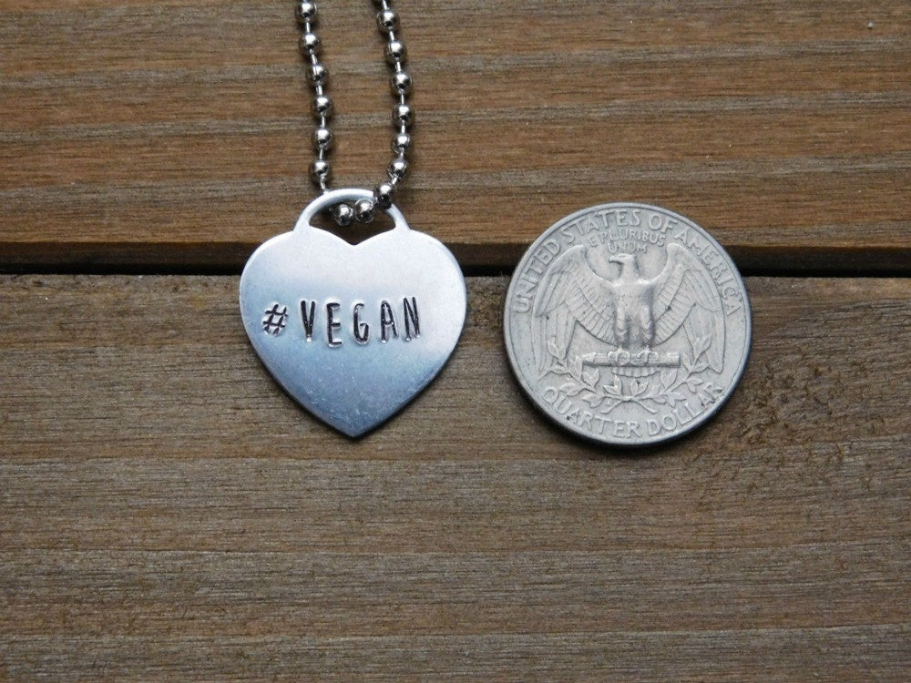 Vegan Necklace Valentines Day Custom Gift Heart Jewelry Hashtag Stamped Personalized Christmas Love Silver Pendant Plant Based Cruelty Free