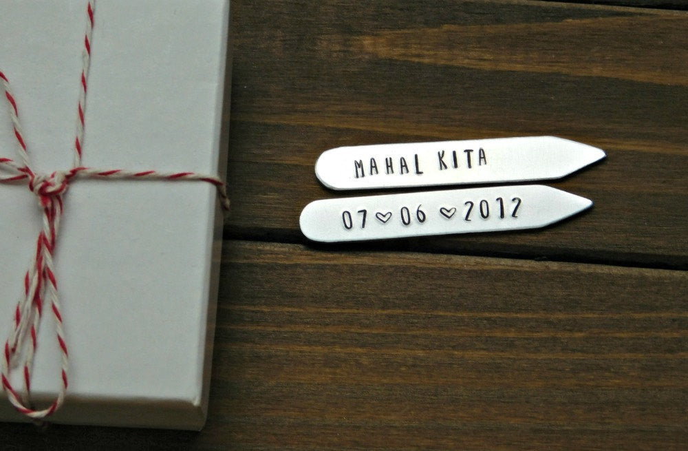 Customized Collar Stays Personalized Text Mens Gift Personalized Date Wedding Anniversary Birthday