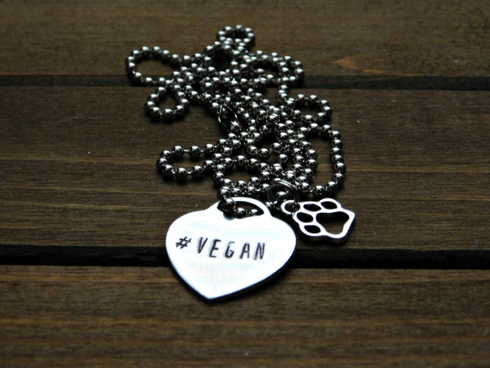 Vegan Heart Necklace Paw Print Custom Gift Animal Lover Stamped Personalized Christmas Valentines Love Silver Pendant Charm Cruelty Free