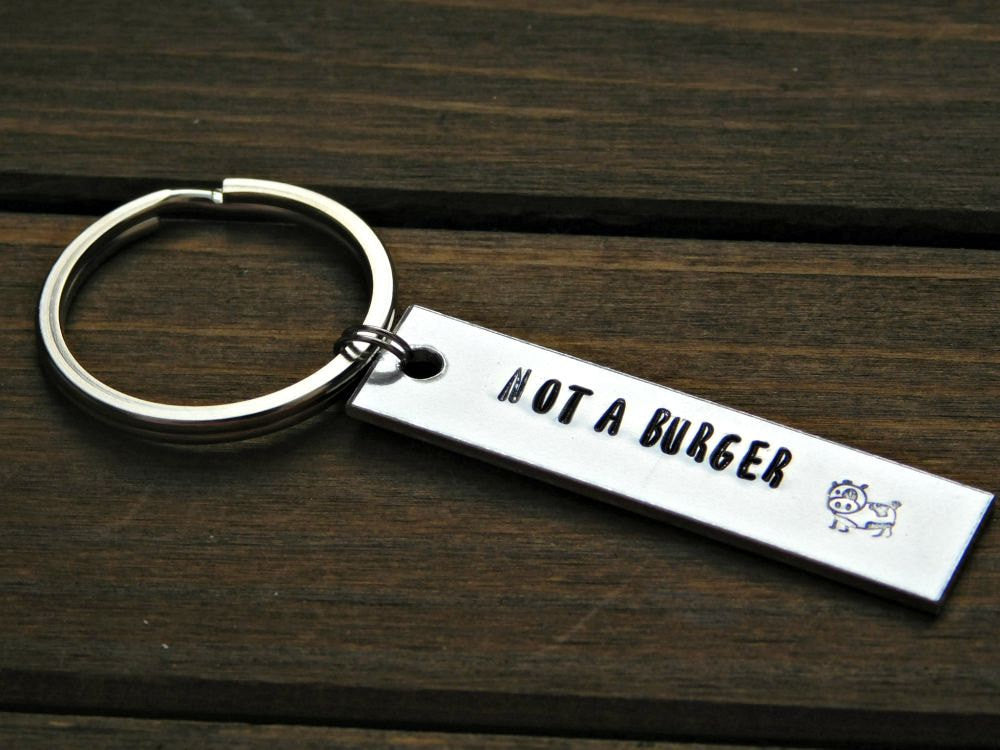 Not A Burger Cow Keychain Vegan Gift Animal Rights Advocate Veg Vegetarian Farm Animals Lover Stamped Message Non Violence Cruelty Free