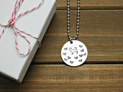 Customizable Dog Lover Necklace Stamped Pet Memorial Jewelry Adopt Rescue Mutt Mixed Breed Chihuahua
