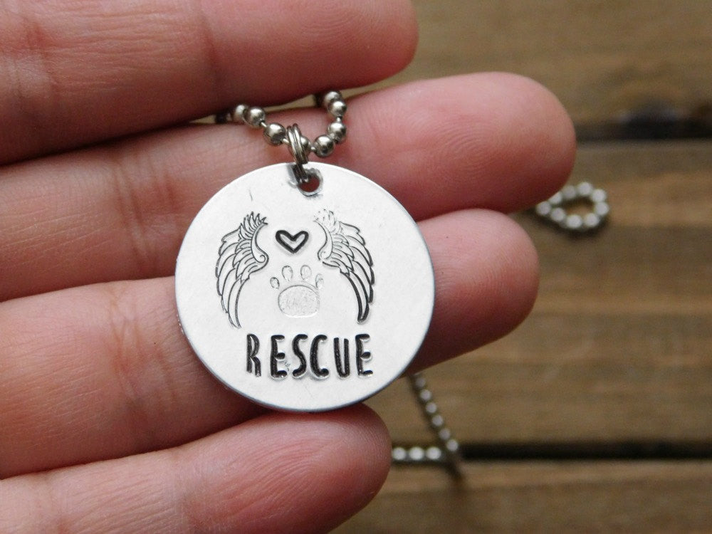 Rescue Angel Necklace Paw Print Dog Lover Cat Pet Memorial Jewelry Custom Stamped Customized Gift Personalized Chain Red Panda's Closet Love