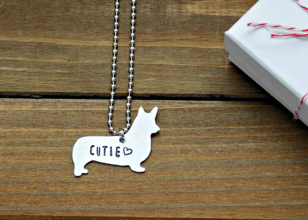 Welsh Corgi Necklace Custom Dog Love Gift Pet Memorial Stamped Jewelry Animal Lover Rescue Dogs Silver Pendant Birthday Christmas Valentines