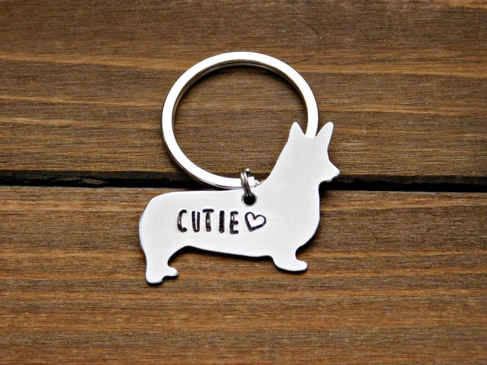 Welsh Corgi Keychain Custom Dog Love Gift Pet Memorial Stamped Jewelry Animal Lover Rescue Dogs Silver Pendant Birthday Christmas Valentines