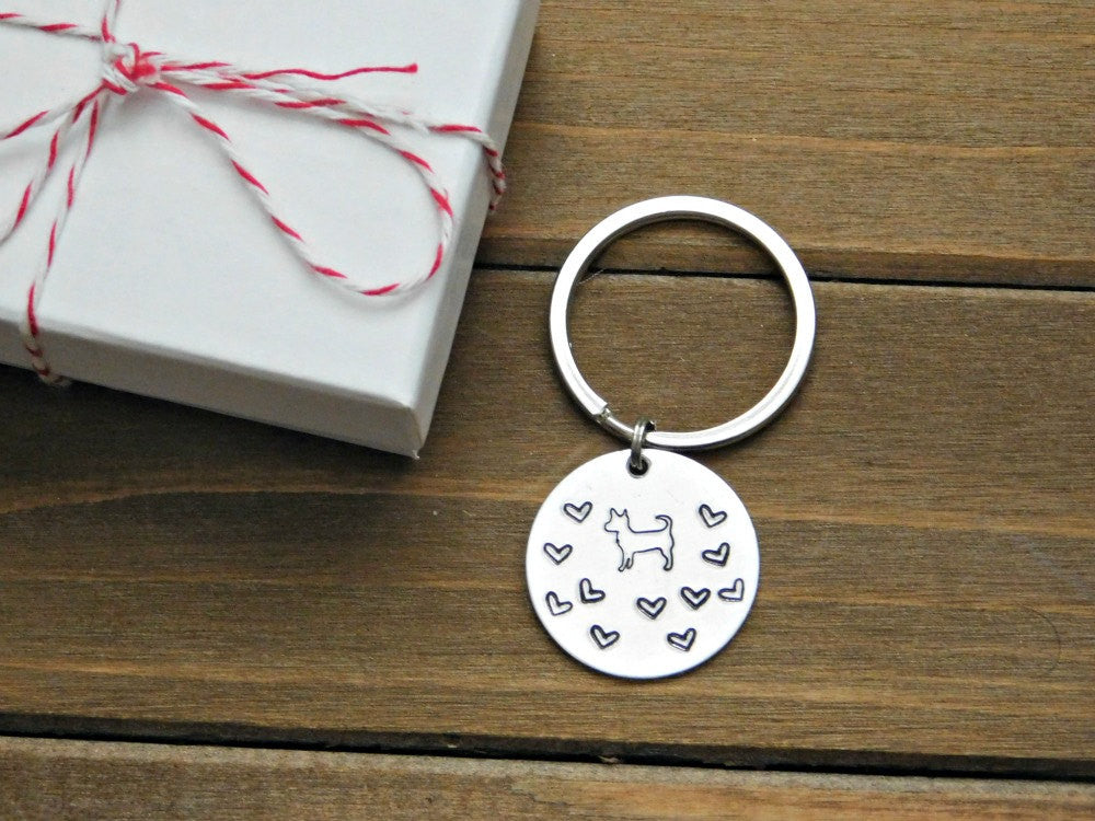 Pet Memorial Custom Keychain Dog Tag Hearts Customized Name Personalized Design Animal Lover Gift Best Christmas Birthday RedPandasCloset