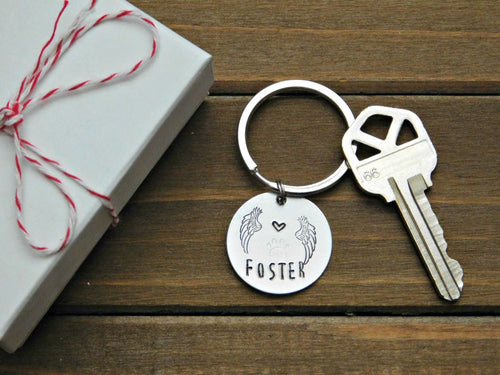 Foster Keychain Pet Memorial Tag Custom Gift Animal Lover Volunteer Rescue Angel Personalized