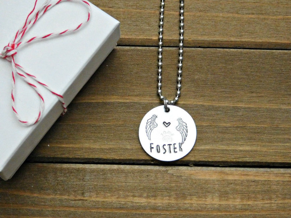 Foster Necklace Dog Cat Pet Animal Lover Memorial Jewelry Custom Gift Remembrance Appreciation