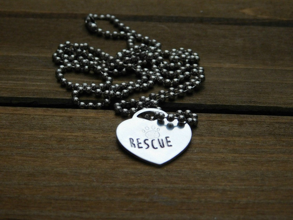 Rescue Heart Necklace Animal Lover Gift Custom Dog Cat Pet Name Memorial Jewelry Customized Personalized Stamped Word Silver Pawprint Love