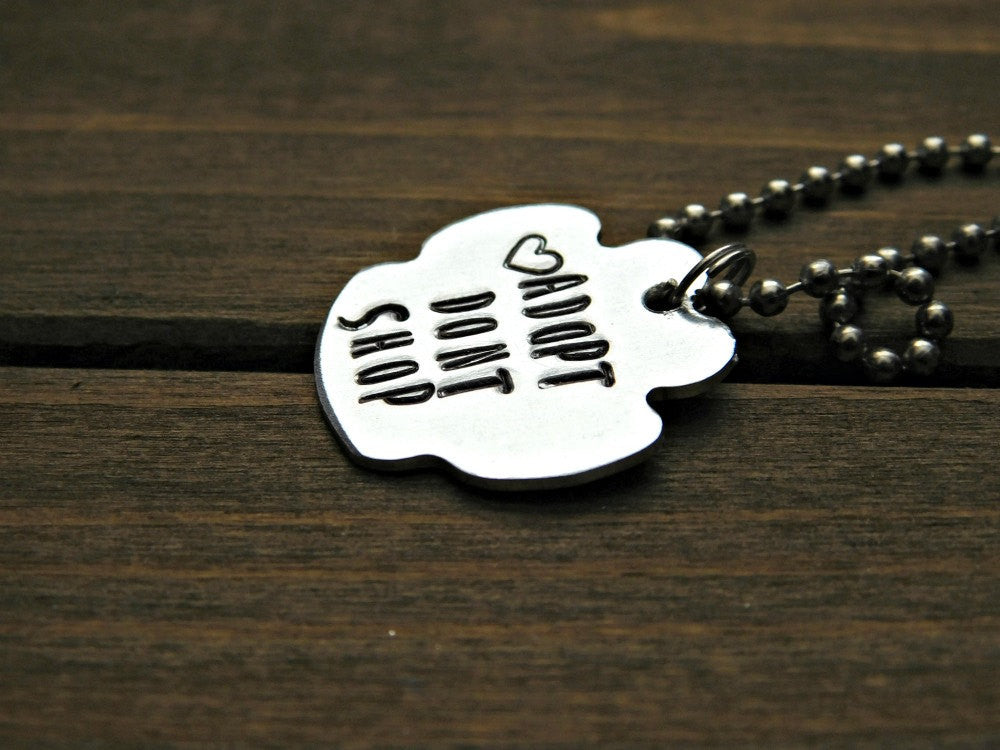 Adopt Dont Shop Necklace Pawprint Paw Animal Rescue Lover Gift Custom Dog Cat Pet Name Memorial