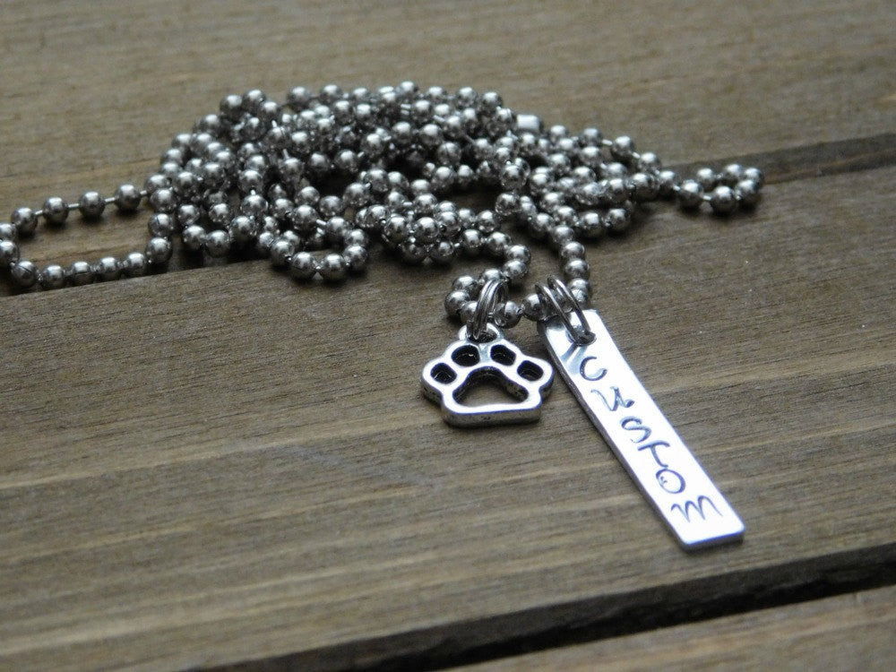 Customized Bar Necklace Stamped Text Paw Print Charm Dog Cat Animal Lover Gift Pet Memorial Custom