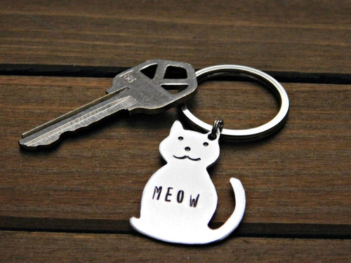 Cat Meow Keychain Custom Key Ring Stamped Gift Personalized Pet Memorial Animal Lover Rescue Cats