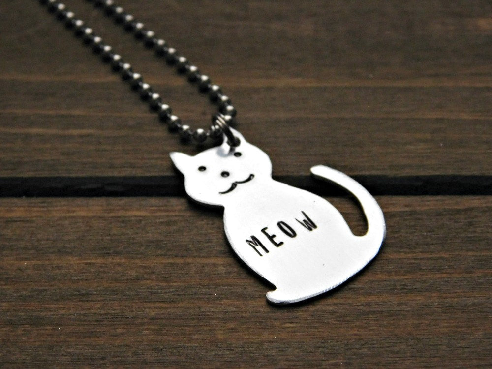 Cat Necklace Custom Stamped Pet Memorial Stamped Kitty Personalized Animal Lover Rescue Cats Pendant