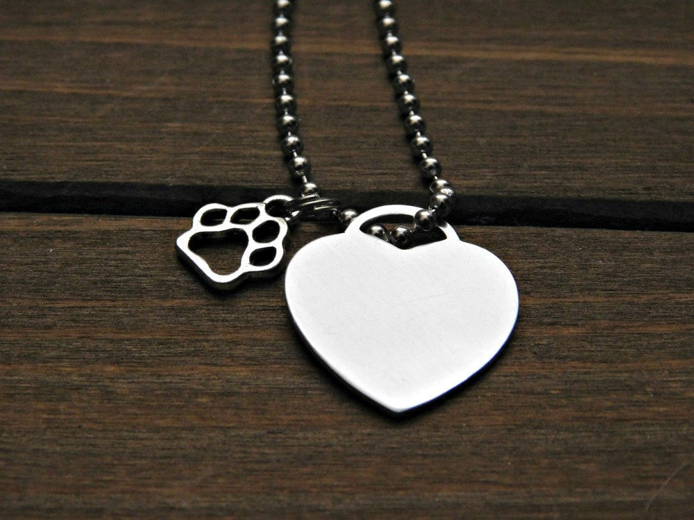 Heart necklace paw print charm personalized animal lover gift pet memo heart necklace paw print charm personalized animal lover gift pet memorial jewelry aloadofball Image collections