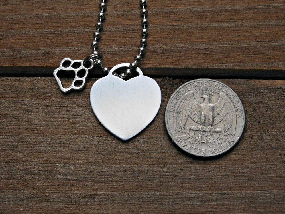 Heart Necklace Paw Print Charm Personalized Animal Lover Gift Pet Memorial Jewelry