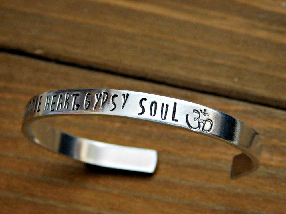 Bracelet Hippie Heart Gypsy Soul Custom Stamped Personalized Gift Quote Jewelry Message Unisex Cuff