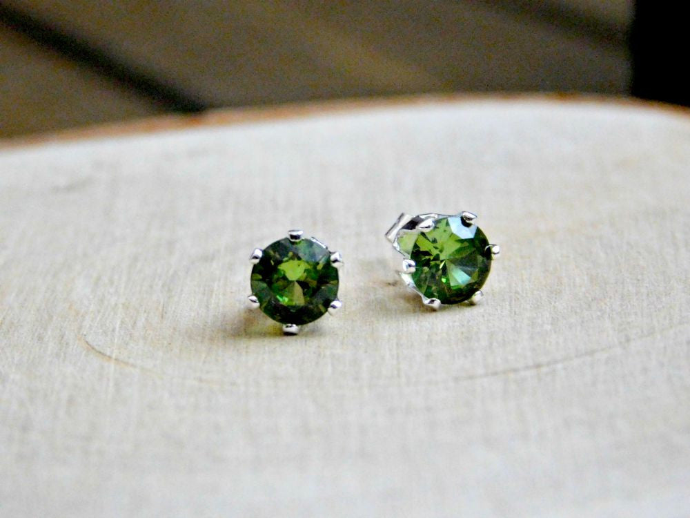sterling earrings faceted genuine product silver round gemstone green parrot peridot stud