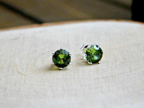 Peridot Stud Earrings Vegan Jewelry