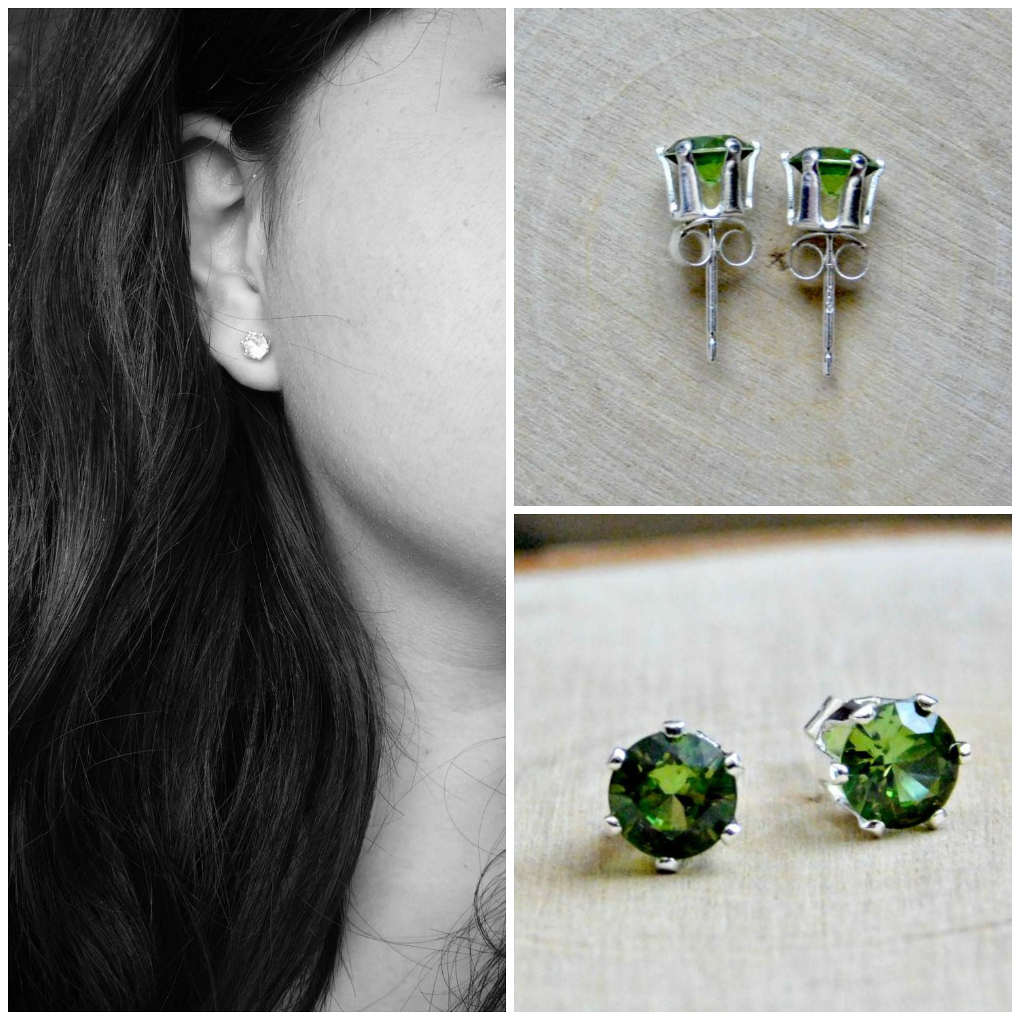 Peridot Vegan Earrings Lab Created