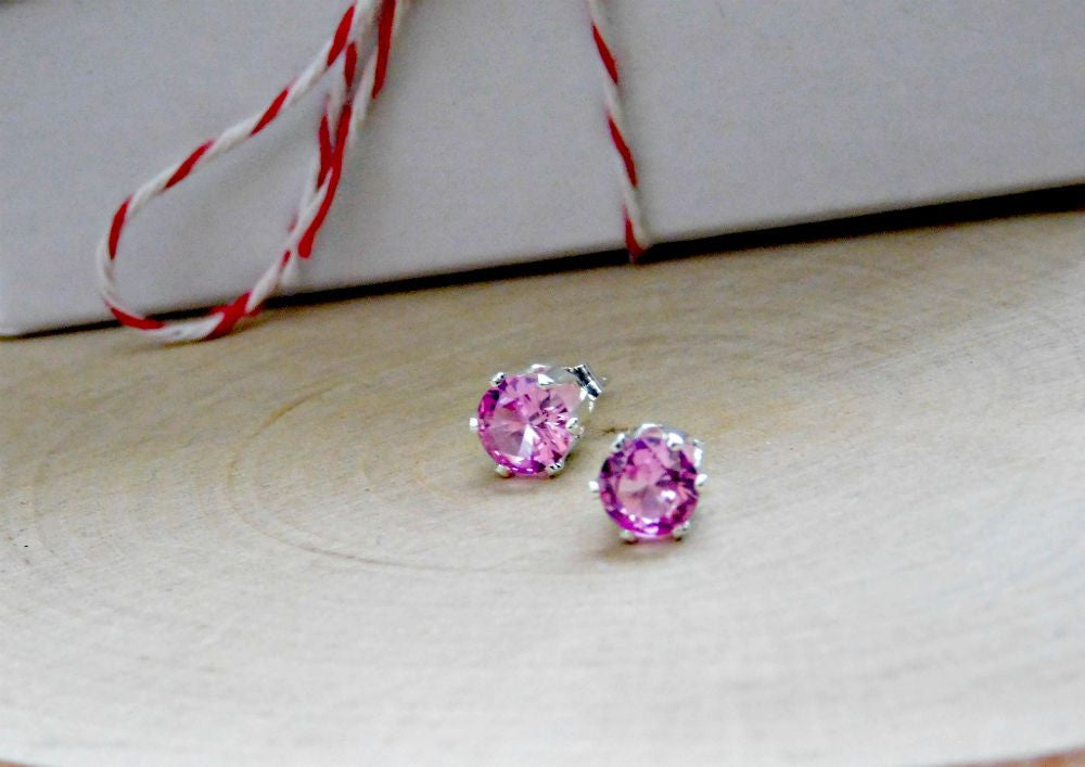 Pink Tourmaline Earrings Sterling Silver 925 Stud Earring Pink Gemstone October Birthstone 6MM Gem