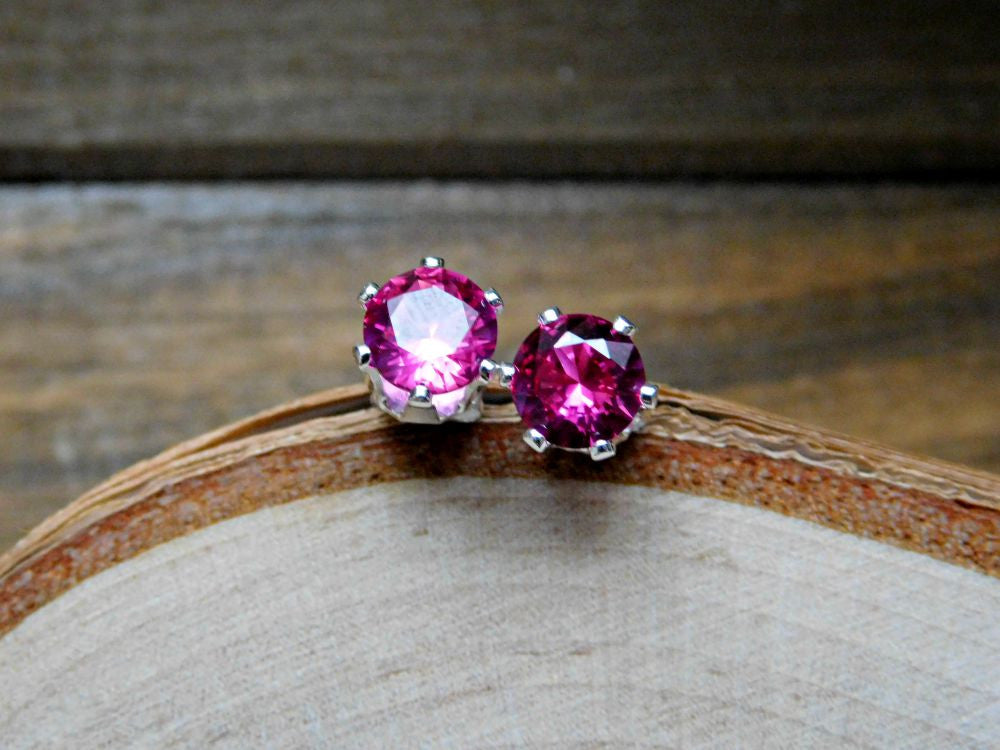 Ruby Stud Earrings July Gemstone Red Birthstone Sterling Silver Earring 925 6MM Gem Rubies