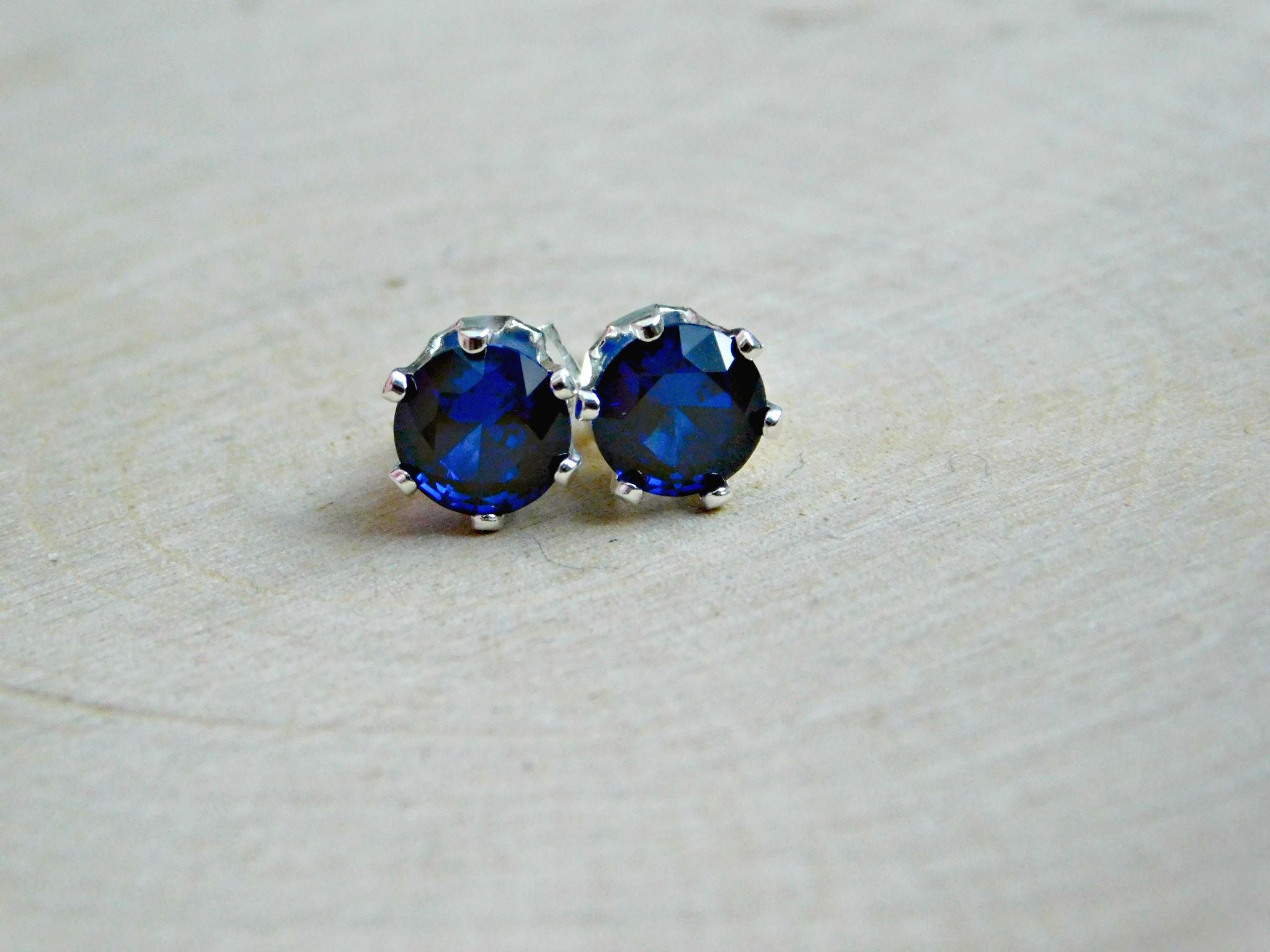 Vegan Sapphire Stud Earrings