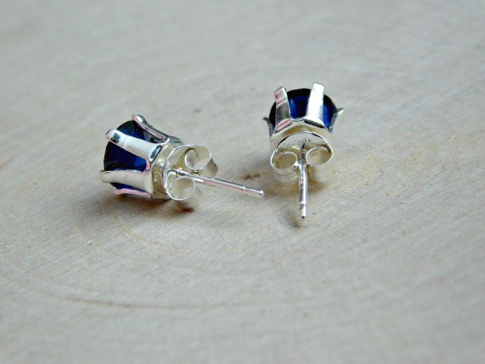 September Birthstone Vegan Sapphire Earrings