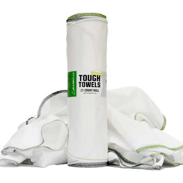 Tough Towels (Lightweight) | 21-Count Roll, 100% Cotton Reusable Paper Towel Alternative Cleaning Cloths
