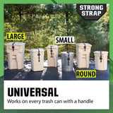 Strong Strap™ Garbage Can Stretch Latch, a Universal Lid Locking System