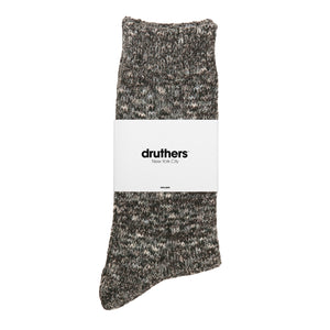 Recycled Cotton Melange Crew Socks - Charcoal Melange