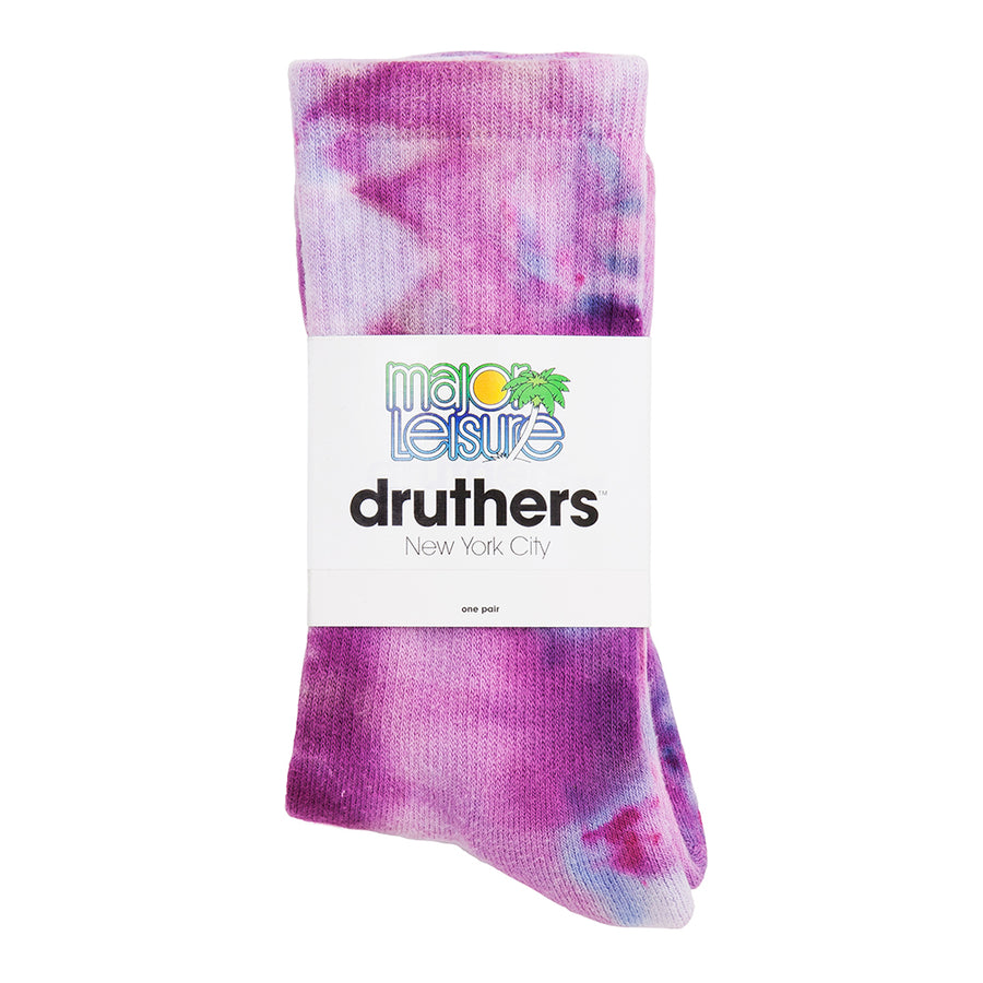 Major Leisure for Druthers Cosmic Tie Dye Organic Cotton Crew Socks - Purple
