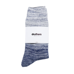 Organic Cotton Gradient Crew Sock - Cream / Navy