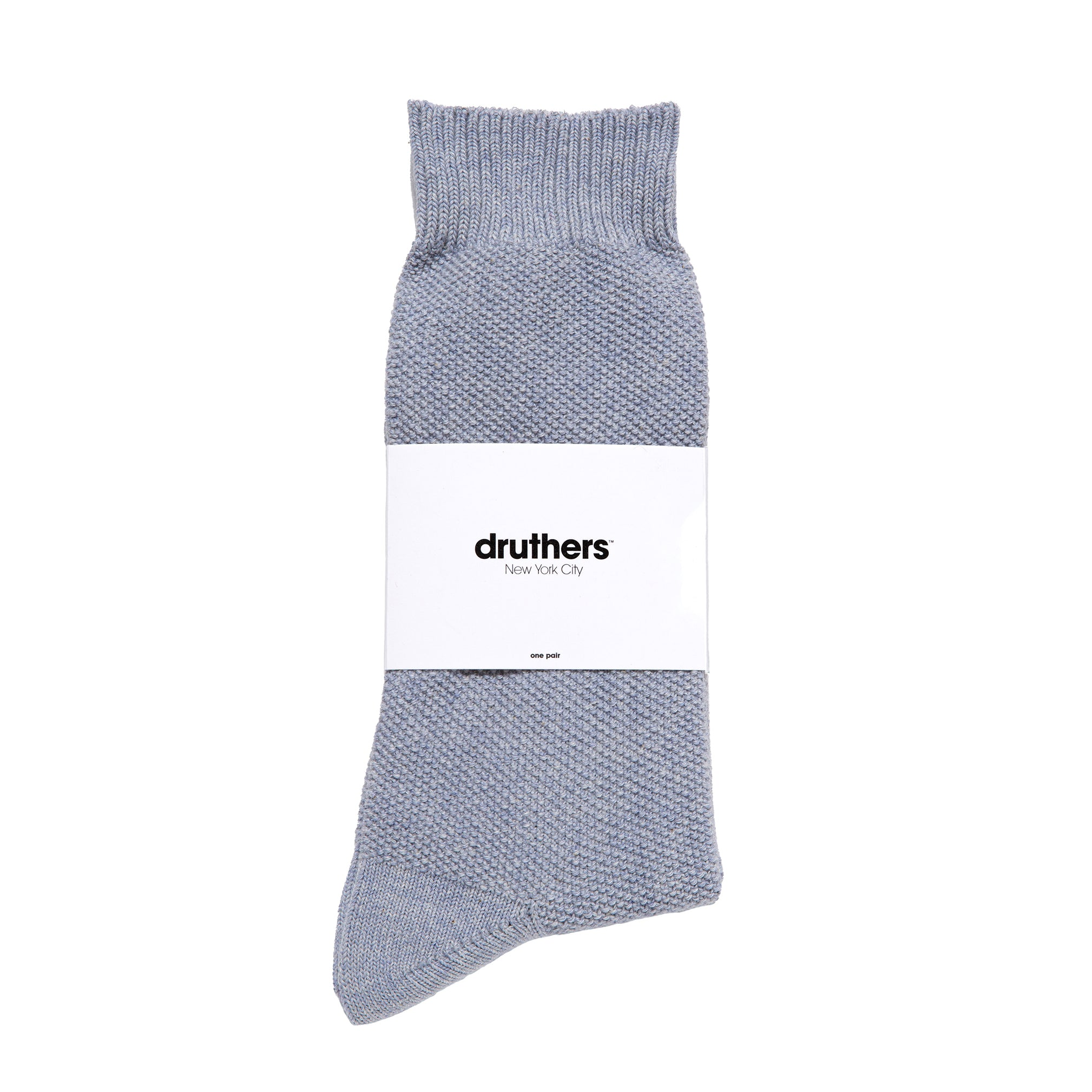 Organic Cotton Pique Crew Sock - Blueberry