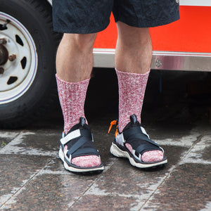 Organic Cotton Ribbed Slub Crew Socks - Red/White