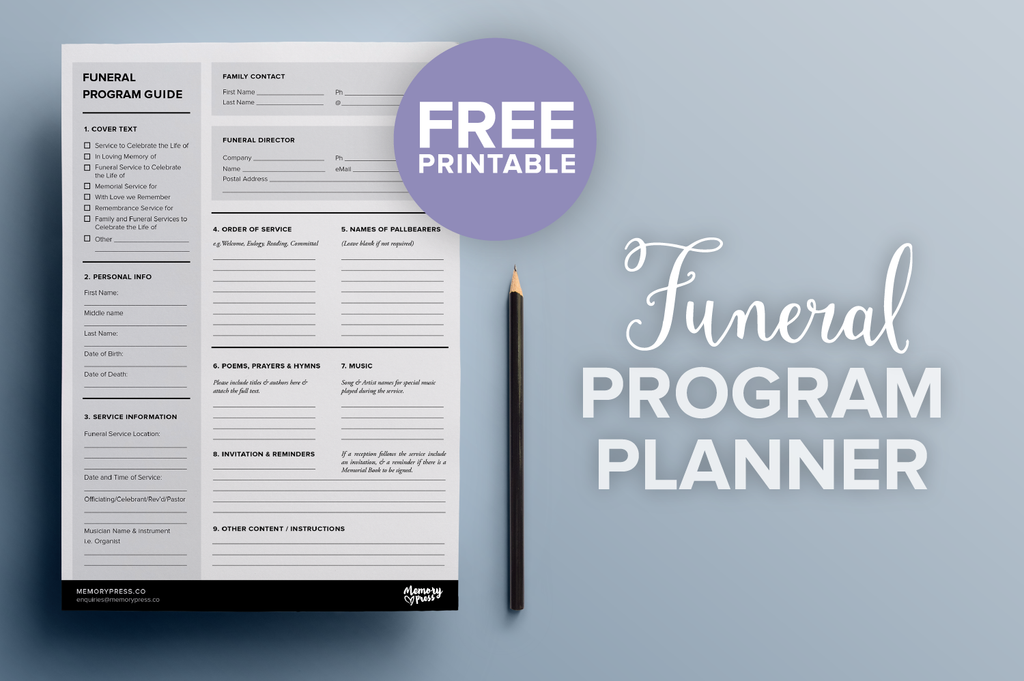 A free downloadable check-sheet to help you plan the content for a funeral program. One click download. Free printable resource.
