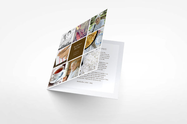 'Azalea Funeral Program Design' - Memory Press specializes in the creation of beautiful & uplifting memorial stationary. They can customise this or any of their other unique designs within 24hrs for just US $99.90
