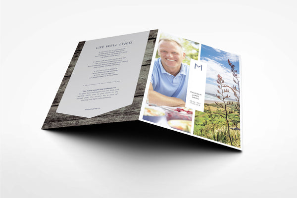 'Bellflower Funeral Program Design' - Memory Press specializes in the creation of beautiful & uplifting memorial stationary. They can customise this or any of their other unique designs within 24hrs for just US $99.90