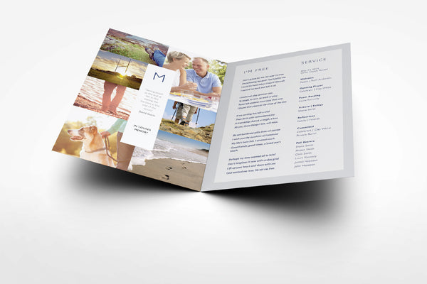 'Bottlebrush Funeral Program Design' - Memory Press specializes in the creation of beautiful & uplifting memorial stationary. They can customise this or any of their other unique designs within 24hrs for just US $99.90