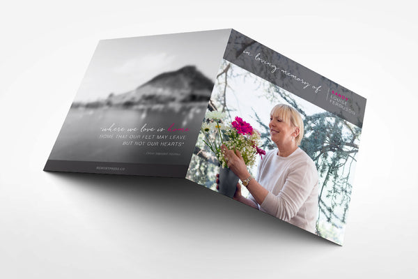 'Buttercup Funeral Program Design' - Memory Press specializes in the creation of beautiful & uplifting memorial stationary. They can customise this or any of their other unique designs within 24hrs for just US $99.90