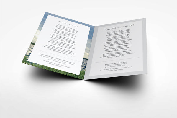 'Carnation Funeral Program Design' - Memory Press specializes in the creation of beautiful & uplifting memorial stationary. They can customise this or any of their other unique designs within 24hrs for just US $99.90