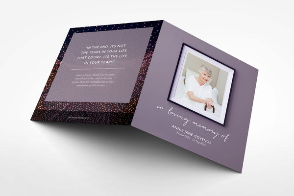 'Dahlia Funeral Program Design' - Memory Press specializes in the creation of beautiful & uplifting memorial stationary. They can customise this or any of their other unique designs within 24hrs for just US $99.90