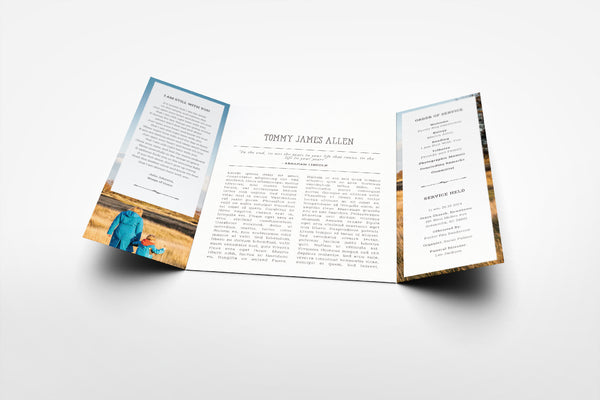 'Freesia Funeral Program Design' - Memory Press specializes in the creation of beautiful & uplifting memorial stationary. They can customise this or any of their other unique designs within 24hrs for just US $99.90