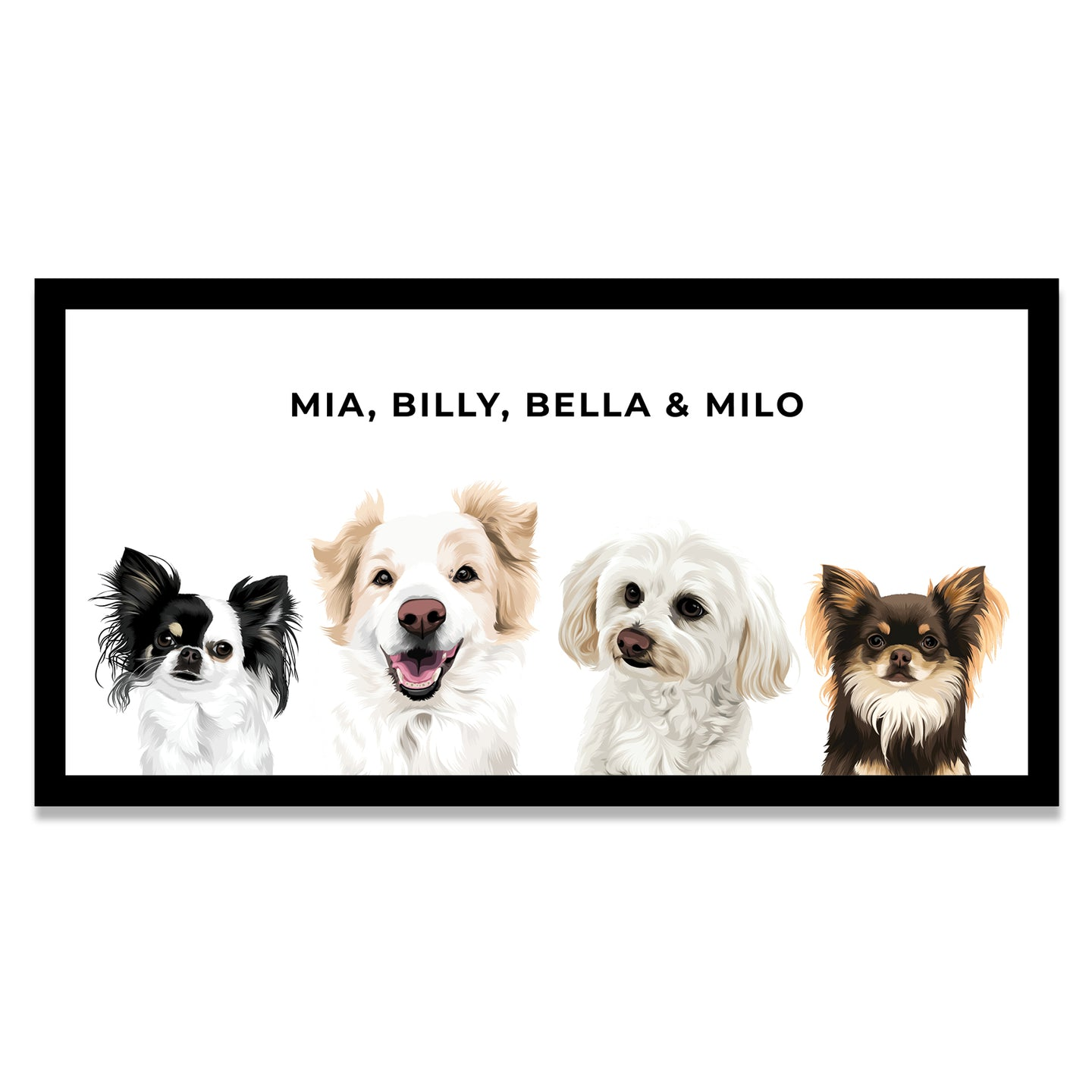Pet Portrait - Black Framed Canvas (4 Pets)