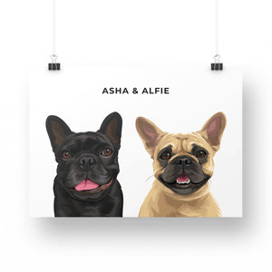 Pet Portrait - Printed Poster (2 Pets)