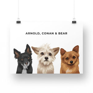 Pet Portrait - Printed Poster (3 Pets)